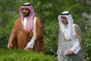 Deputy Crown Prince Mohammed bin Salman of Saudi Arabia (L) and Saudi Minister of Foreign Affairs Adel Al-Jubeir. (Getty Images)